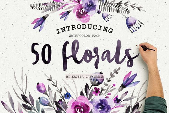 50 Watercolor Flowers Pack by Katsia Jazwinska on Creative Market