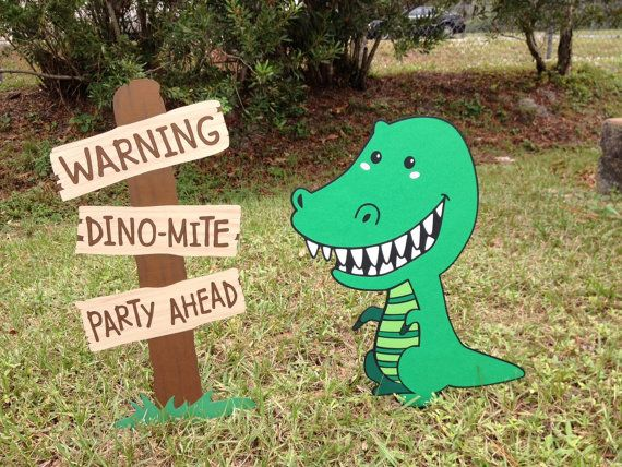 For your consideration is a Dinosaur Party Set. It includes two pieces, the Dinosaur and the Faux Wooden Sign to use on your lawn or as a Room