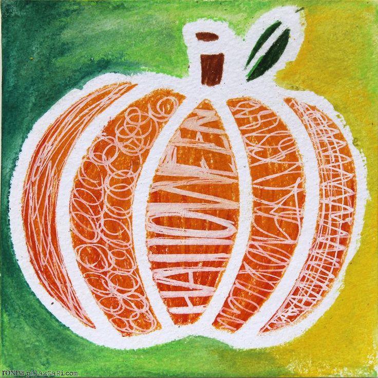 Texture/resist pumpkins -Ronda Palazzari Fragment Pumpkin