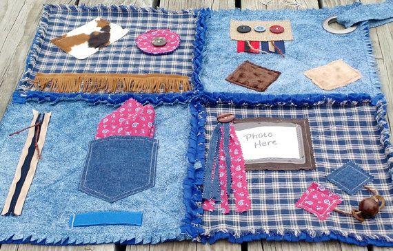 Fidget Quilt for Alzheimer's - Dementia Patients, Rag Quilt, Sensory Quilt, Lap…