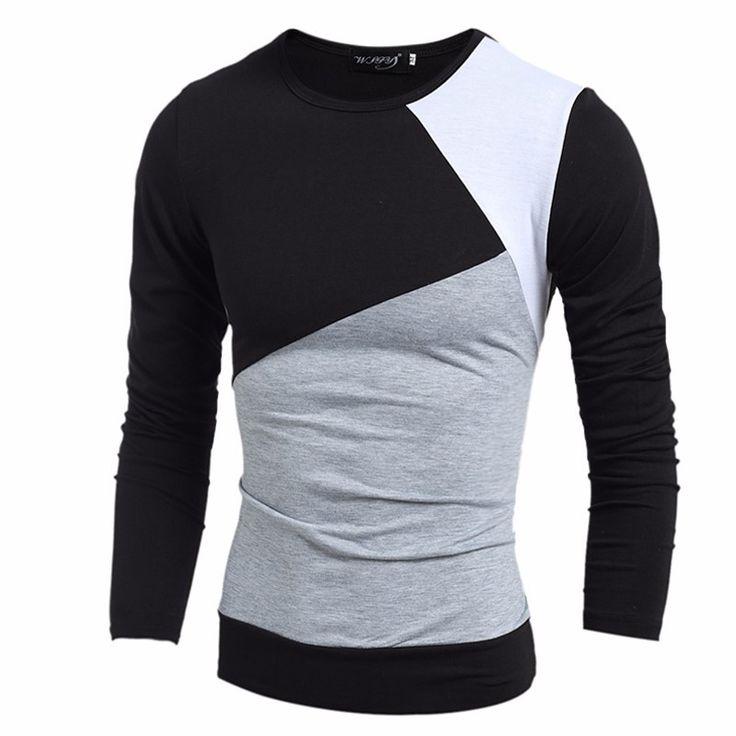 Camiseta de Inverno de Lã Masculina Manga Longa Sueter Casual