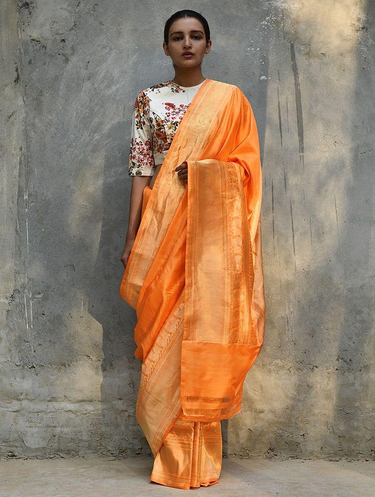 Orange Handwoven Silk Saree