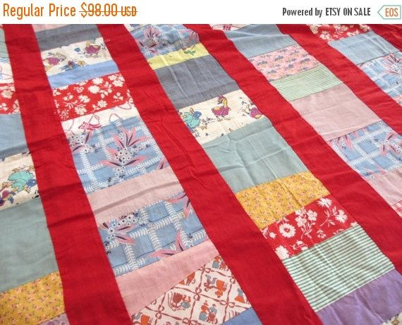 15SALE Red stripe. Vtg midcentury quilt top / hand work handmade stitched / feedsack / child room children / home decor bedding / DIY projec
