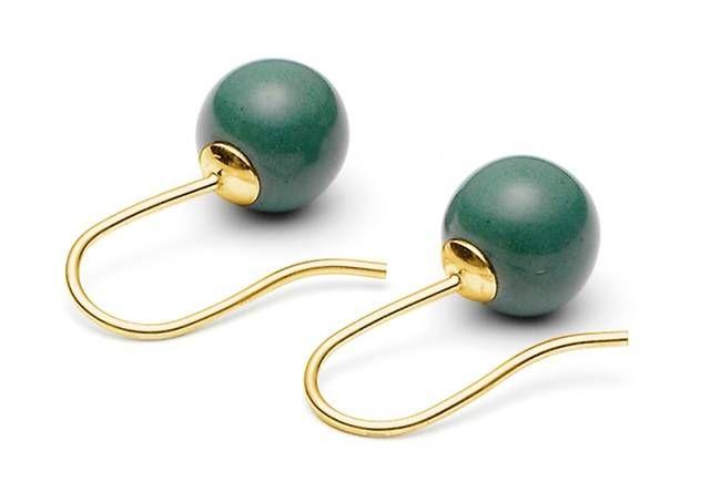 30% korting - Zilveren oorbellen met jadegroene porseleinen parels van Louise Kragh :: Le Goût des Couleurs producten - Webshop