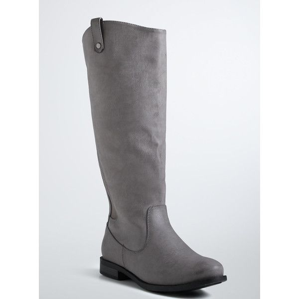 Torrid Zip Back Basic Tall Boots (Wide Width) ($70) ❤ liked on Polyvore featuring shoes, boots, monument, wide calf boots, tall grey boots, tall boots, knee high boots y grey knee high boots