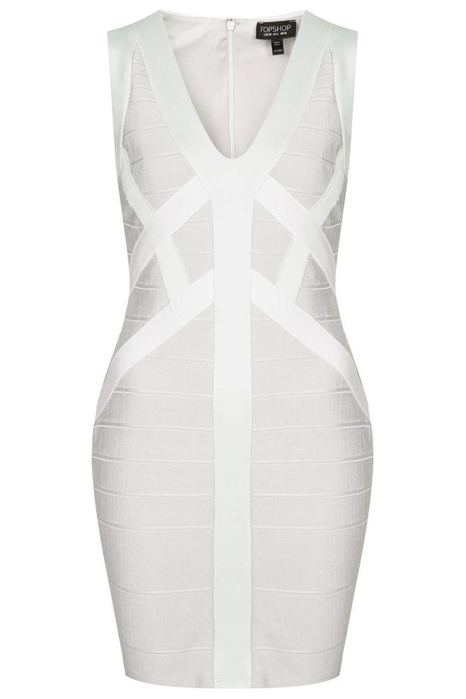 NEW Topshop Silver Satin Bandage Bodycon Dress RRP £50 SOLD OUT This Season