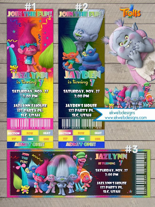 Trolls Movie Ticket Birthday Invitations - Dreamworks Trolls Movie 2016 party Invitations