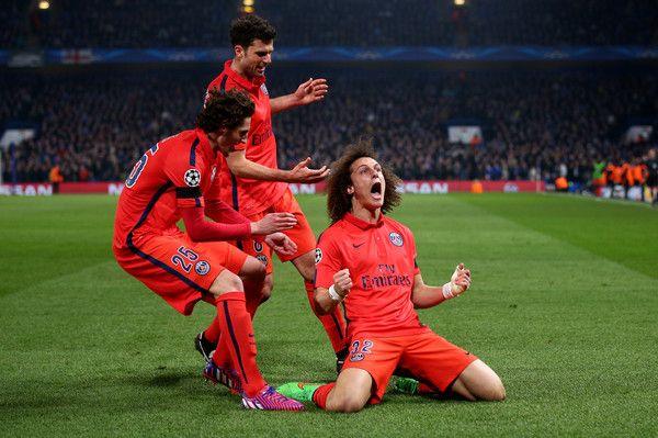 David Luiz in Chelsea v Paris Saint-Germain