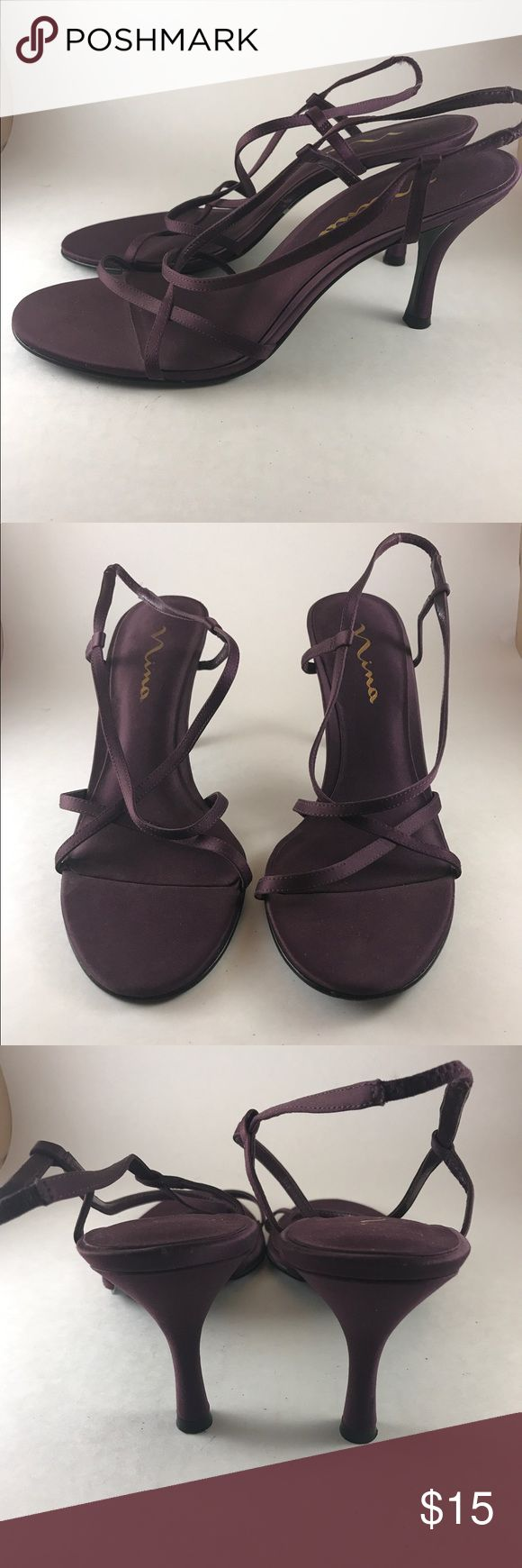 Sexy Purple Strappy Heels These are beautiful strappy heels that are paired perfectly with a LBD! They are still in good condition! I do same day shipping! Nina Shoes Heels