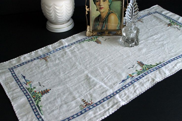 Vintage Dresser Scarf Asian Oriental Inspired Pagoda Tiny Cross Stitch Table Runner by Circa810 on Etsy