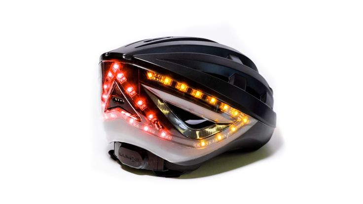 A helmet with indicators and a brake light is nearing production