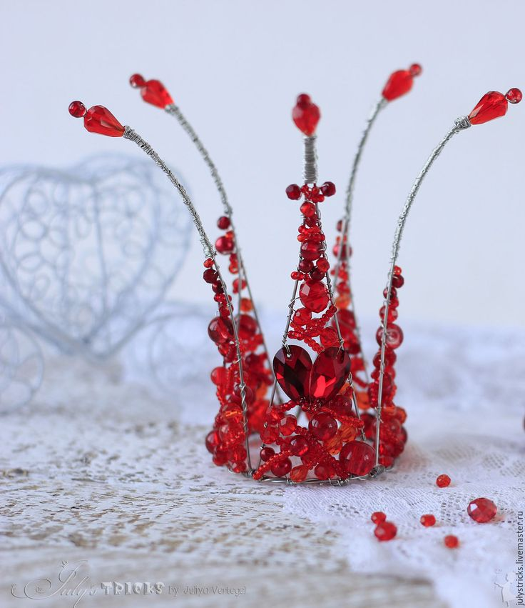 """Купить Красная корона """"Дама Червей"""". Корона из проволоки - ярко-красный, корона…"""