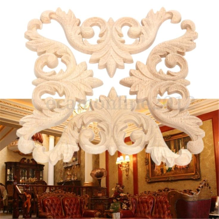 1/2/4 9*9*0.8cm Wood Carved Corner Onlay Applique Unpainted Furniture Home Decor  | eBay