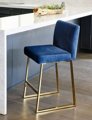 Linden Barstool In Slate Blue Velvet Gold Dining Chairs