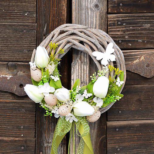 Hydrangea   Veľkonočný venček na dvere s motýľmi  65951141294
