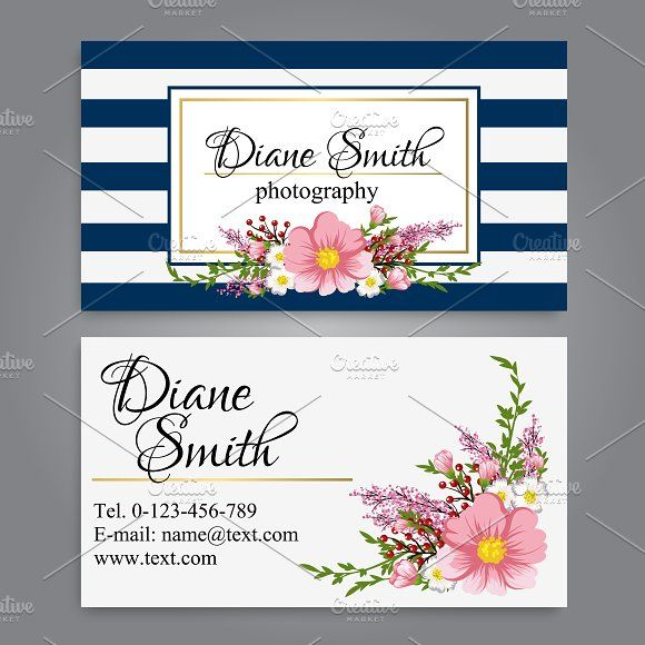 Business Card Template Floral Business Cards Business Cards Creative Templates Business Card Template Design