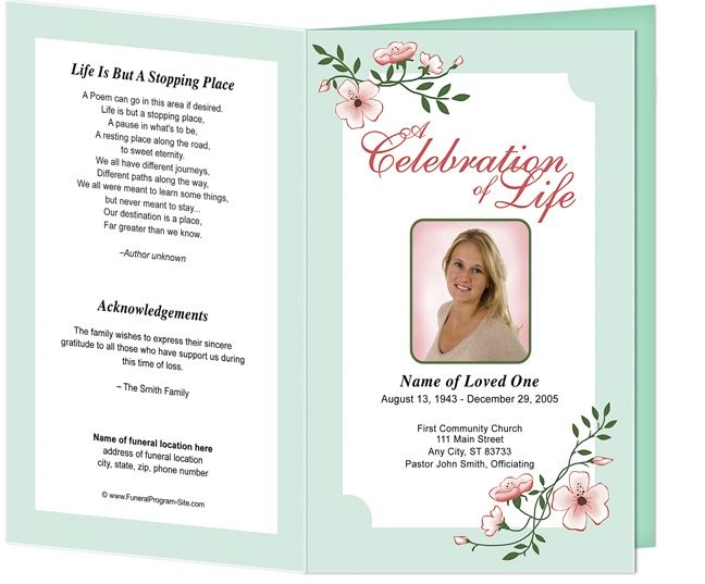Best Funeral Program Templates Images On   Memorial