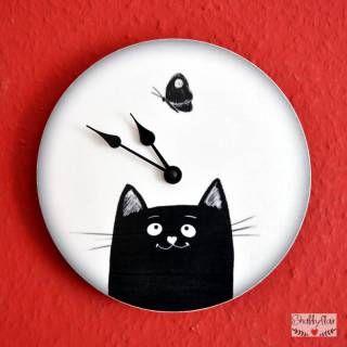 shabbyflair - Uhr BLACK CAT & BUTTERFLY - Diese Katzen-Uhr ist sehr beliebt bei Katzenfreunden!