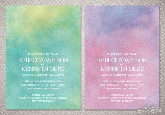"""Watercolor Ombre """"Rebecca"""" Wedding Invitation Suite - Whimsy Modern Beautiful Unique Invitations - DIY Digital Printable or Printed Invite. $85.00, via Etsy."""