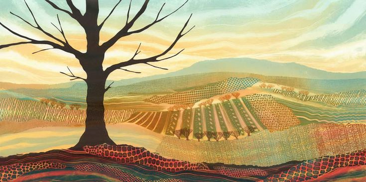 Colourful, detailed patchwork landscapes by Northumberland artist Rebecca Vincent. Original monotypes sold, limited edition art prints available