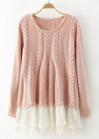 Chic Solid Color Lace Splicing Long Sleeve Scoop Neck Pullover Sweater For Women Sweaters & Cardigans | RoseGal.com Mobile