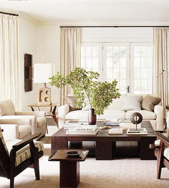 living rooms - brown, ivory, modern sofa, chairs, beige, brown, silk, throw pillows, Mid-Century, modern, wood, coffee table, accent tables, carved, wood, lamp, blue, white, striped, accent, chairs, ivory, silk, drapes, mango, vase, French, doors, abstract, art, monochromatic living room,