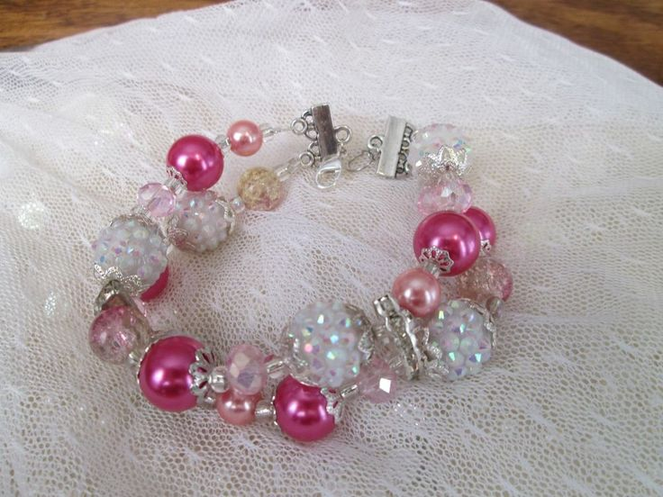Pink Vintage Style AB Beaded Bracelet Two Row Strand White Snow Pearls Moonglow  #Handmade