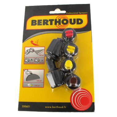 Berthoud Herbicide Nozzle Pack 200601   This kit contains a 45 degree elbow complete, to fit to all Berthoud 8mm spray lances.  The kit also contains the following nozzles / spraytips :  04 F110 Red Flat Fan Nozzle  02 F80 Yellow Flat Fan Nozzle  DT 1.0 Yellow Delector Nozzle  DT 2.5 Brown Deflector Nozzle