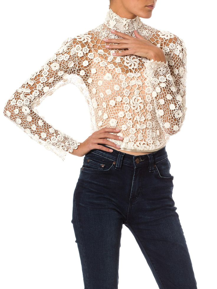 Vintage Irish Crochet Lace Fitted Top