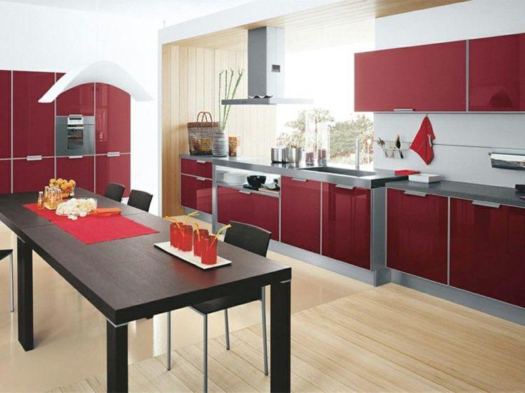 Cuisine Rouge Et Gris on Pinterest  Murs de cuisine rouge, Salon gris