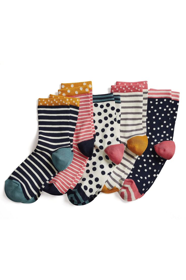 Buy Grey/Pink/White Spot And Stripe Ankle Socks Five Pack from the Next UK online shop