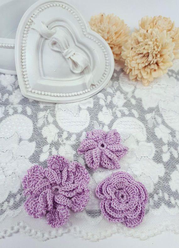 3 purple applique flowers crochet flowers purple fabric