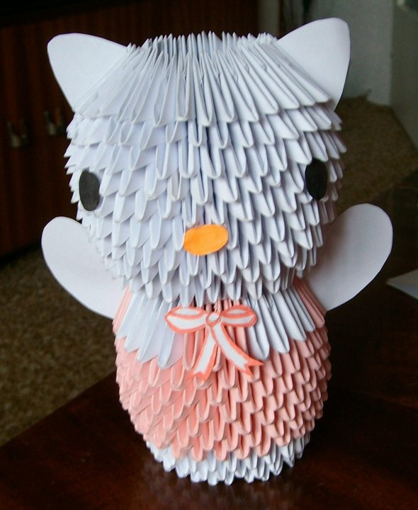 My first 3D origami - Hello Kitty
