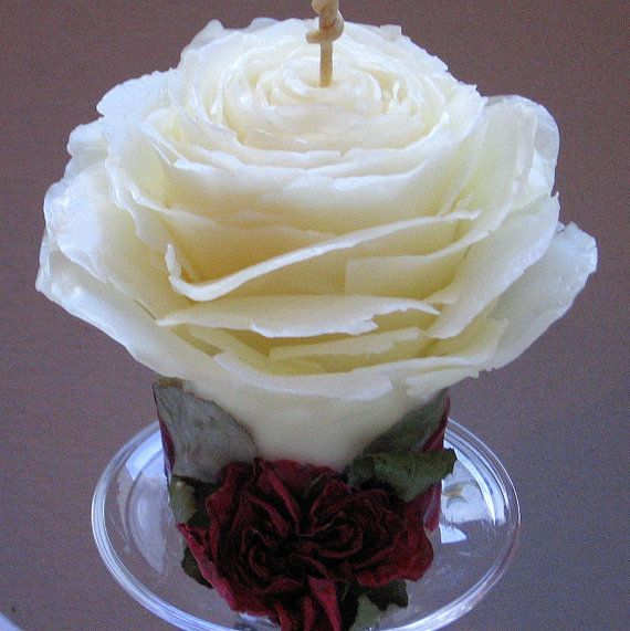 Unique Unity Candle, Pure Beeswax Rose Candles Adorned with Rose Petals, Handmade by ForestCandleStudio