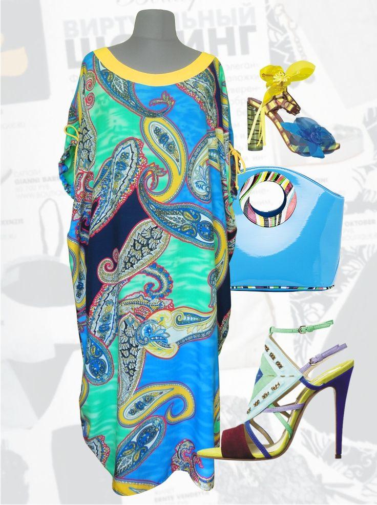 """32$ Летнее платье из штапеля свободного покроя для полных женщин """"Синие огурцы"""" Артикул 647, р50-64"""
