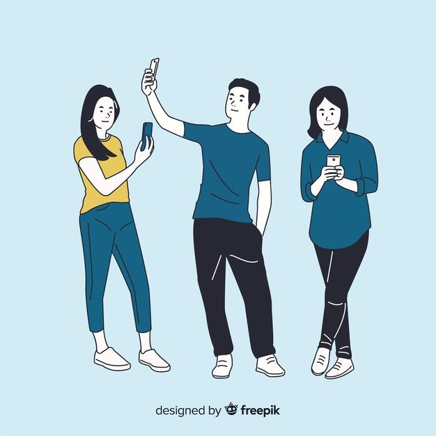Download Different People Holding Smartphones In Korean Drawing Style For Free In 2020 Fashion Drawing Vector Free Vector Free Download