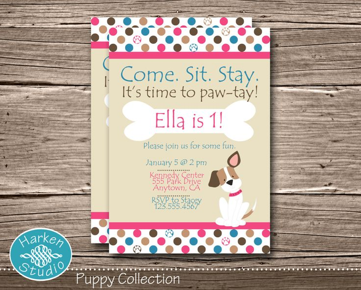 Pink Puppy Birthday Party Invitation Printable by HarkenStudio