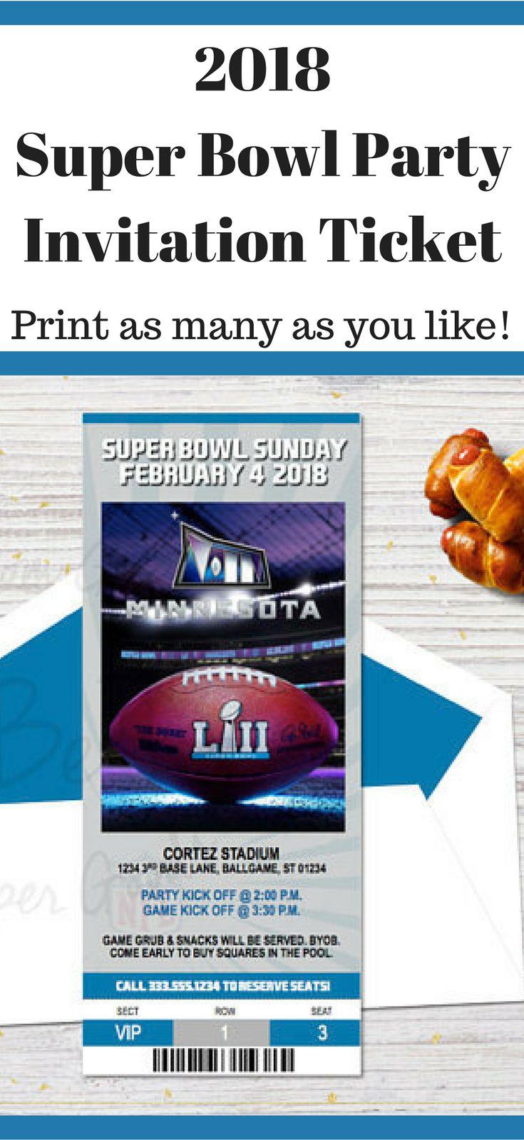2018 Super Bowl Party Invitation Ticket | Printable Invitation #ad #superbowl #superbowlparty #printable #instantdownload #party #partyideas #invitation