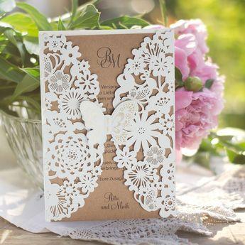 #Hochzeitseinladung #Schmetterling braun: https://www.meine-hochzeitsdeko.de/hochzeitseinladung-zarter-schmetterling-braun