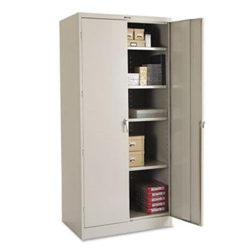 steel 78 high storage cabinet with locking swing out doors x light gray