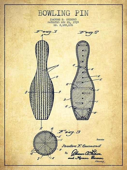 Bowling Pin Patent Drawing From 1939 -vintage by Aged Pixel