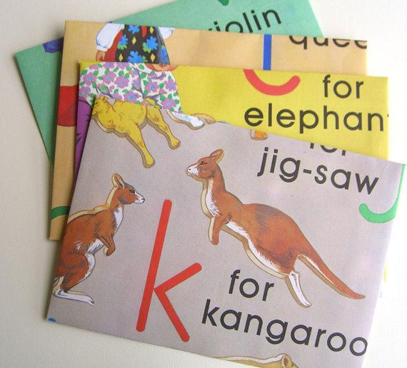 8  envelopes handmade from  pages of a child's alphabet by workbox, $7.00