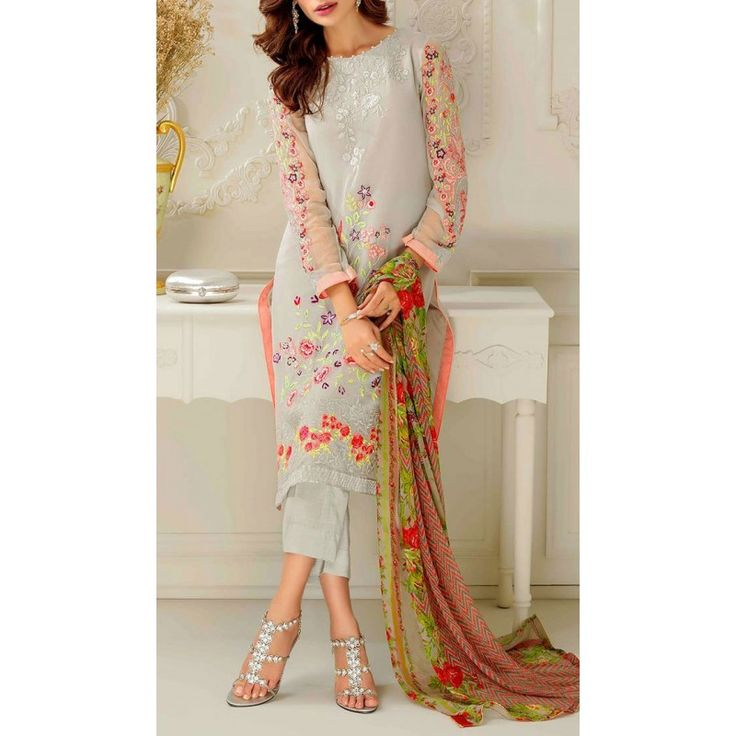 Grey Embroidered Silk Chiffon Dress Contact: (702) 751-3523 Email: info@pakrobe.com Skype: PakRobe