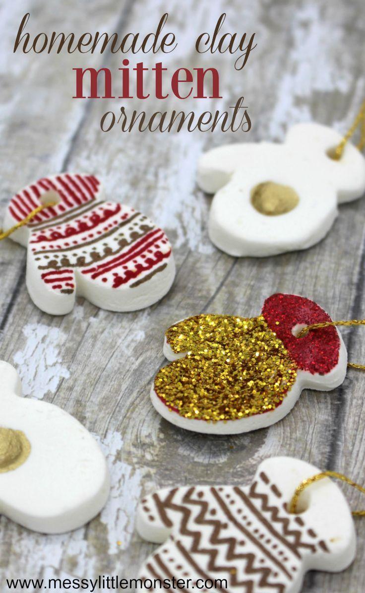 Homemade Clay Mitten Ornaments Homemade Clay Baking Soda Clay Homemade Clay Recipe