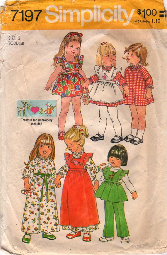 Simplicity 7197 1970s Toddlers Dress Pinafore  Pants by mbchills