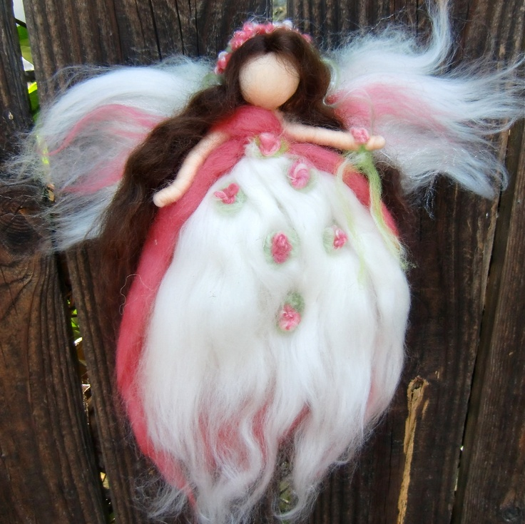 Needle felted fairy - Wool Angel  - Blossoming Blessing Fairy Waldorf  Steiner inspired. $34.00, via Etsy.