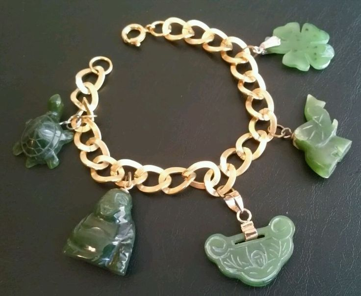Vintage Charm Bracelet Genuine Handcarved Jade Buddha Elephant Turtle B114