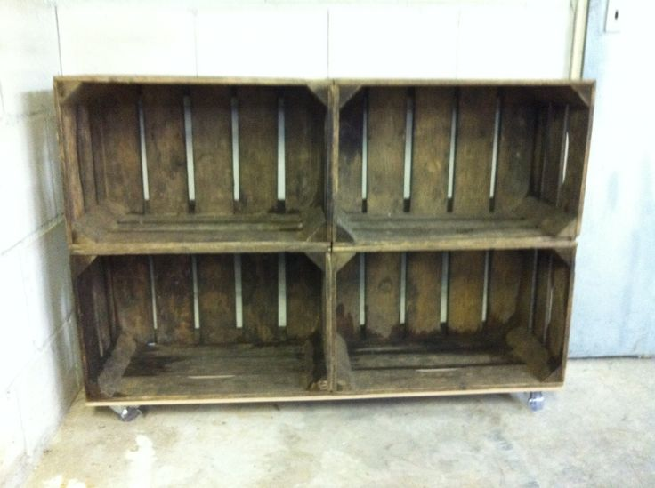 Diy tv-meubel van oude veiling kratjes / kistjes