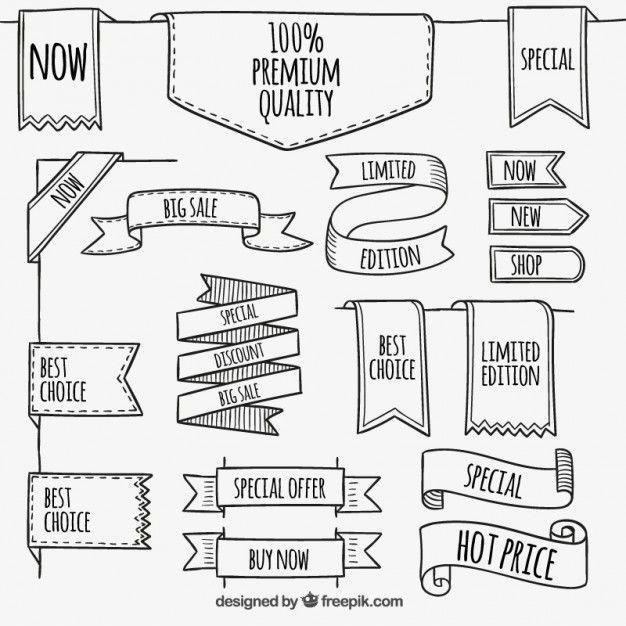Banners Premium no estilo esboçado | Pinterest | Banners, Vector ...