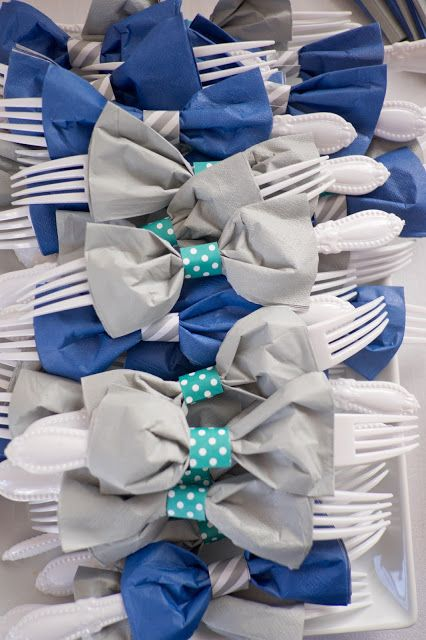 Bow tie napkin and utensils! Cute baby boy shower idea.  Domestic ...